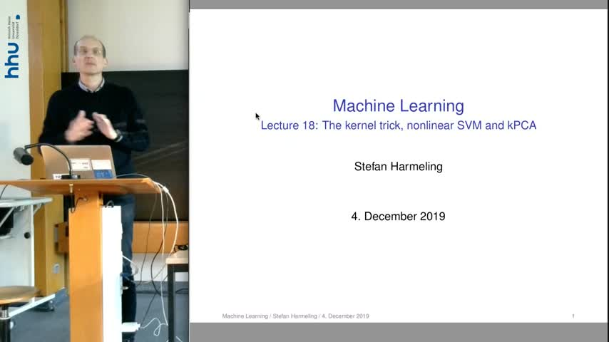Machine Learning 18 Kernel trick and Nonlinear SVM 2019/20