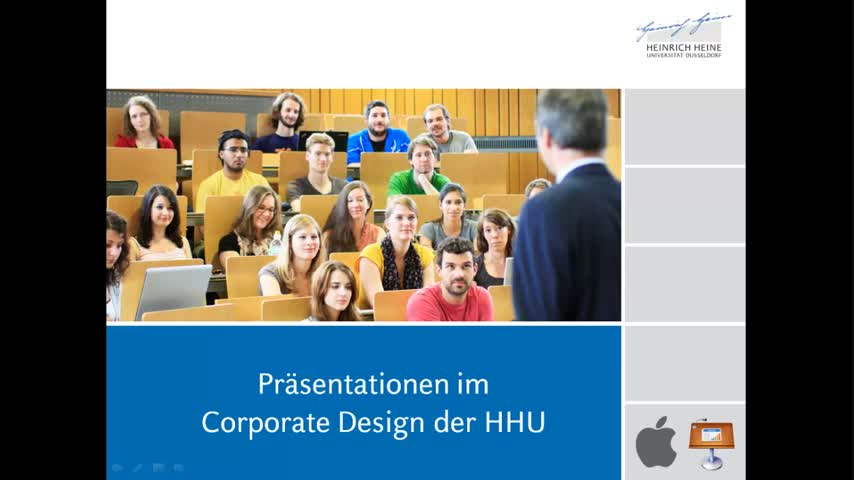 Tutorial 1: Präsentationsvorlagen der HHU (Mac, Keynote)