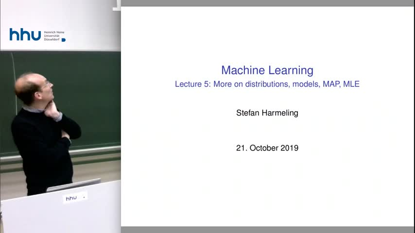 Machine Learning 05 More on distributions, MAP and ML 2019/20