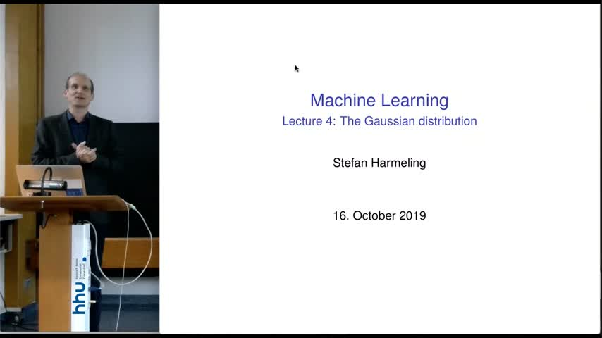 Machine Learning 2019/20 Lecture 04 Gaussian distribution