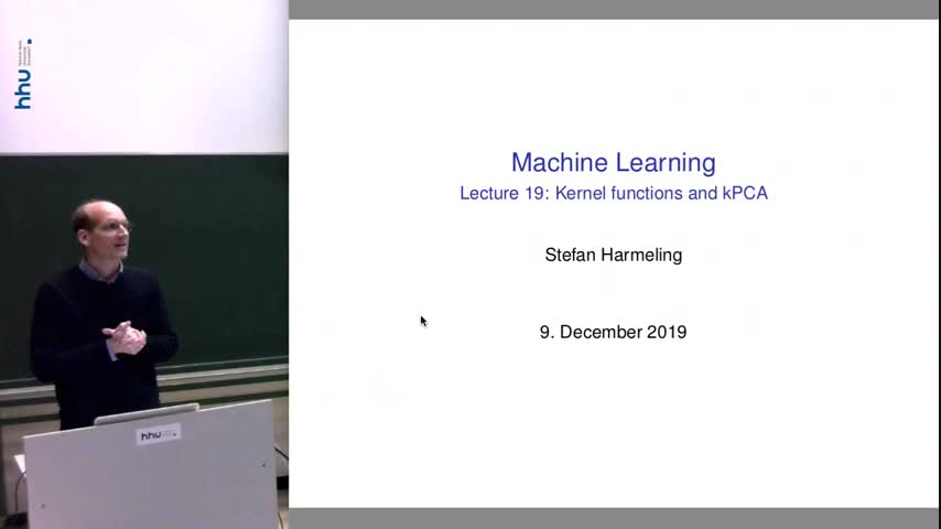 Machine learning 19 Kernel functions and feature space 2019/20