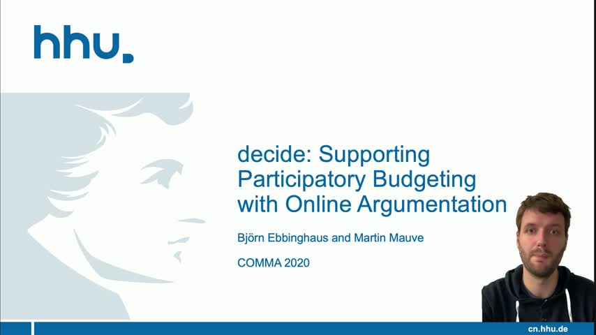 decide: Supporting Participatory Budgeting with Online Argumentation | Demo | COMMA 2020