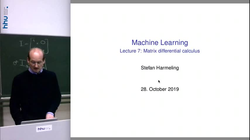 Machine Learning 07 Matrix Differential Calculus 2019/20