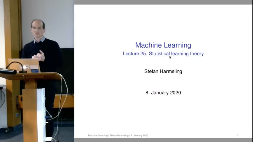Machine Learning 24 Statistical Learning Theory 2019/20